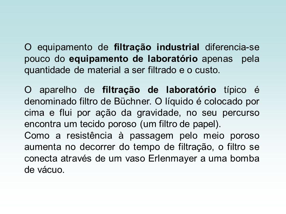 O equipamento de filtração industrial diferencia-se pouco do equipamento de laboratório apenas pela quantidade de material a ser filtrado e o custo. O