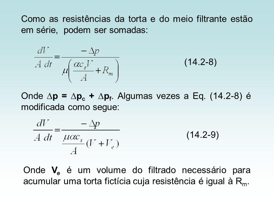 Como as resistências da torta e do meio filtrante estão em série, podem ser somadas: (14.2-8) Onde p = p c + p f. Algumas vezes a Eq. (14.2-8) é modif