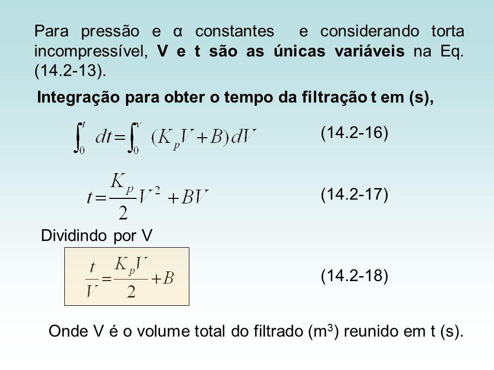 Para pressão e α constantes e considerando torta incompressível, V e t são as únicas variáveis na Eq. (14.2-13). (14.2-17) (14.2-16) Dividindo por V (