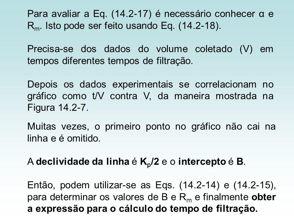 Para avaliar a Eq. (14.2-17) é necessário conhecer α e R m. Isto pode ser feito usando Eq. (14.2-18). Precisa-se dos dados do volume coletado (V) em t