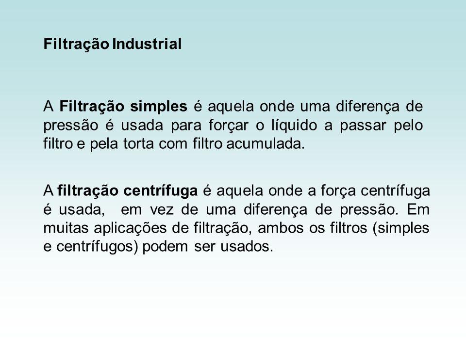 Filtração Industrial A Filtração simples é aquela onde uma diferença de pressão é usada para forçar o líquido a passar pelo filtro e pela torta com fi