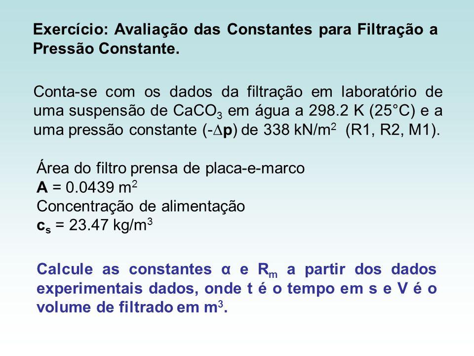 Conta-se com os dados da filtração em laboratório de uma suspensão de CaCO 3 em água a 298.2 K (25°C) e a uma pressão constante (-p) de 338 kN/m 2 (R1