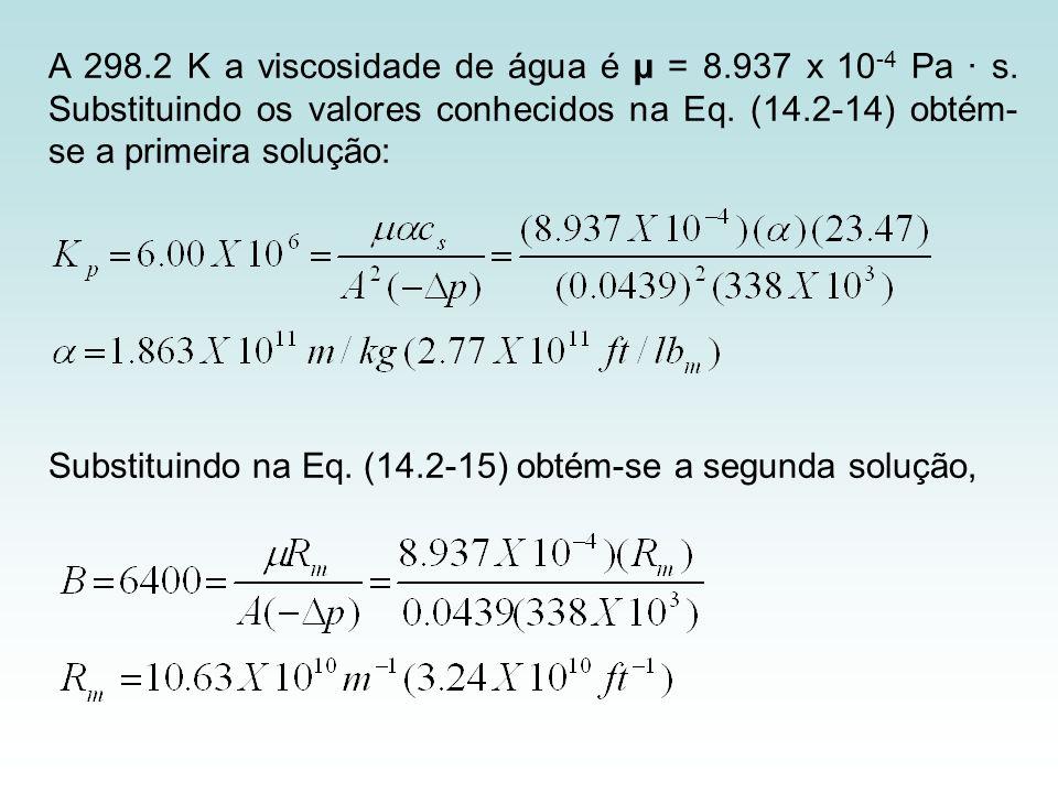 A 298.2 K a viscosidade de água é µ = 8.937 x 10 -4 Pa · s. Substituindo os valores conhecidos na Eq. (14.2-14) obtém- se a primeira solução: Substitu