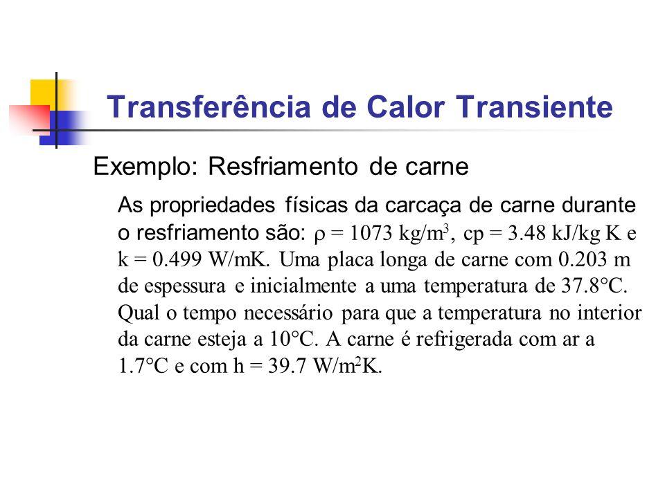 Exemplo: Resfriamento de carne As propriedades físicas da carcaça de carne durante o resfriamento são: = 1073 kg/m 3, cp = 3.48 kJ/kg K e k = 0.499 W/