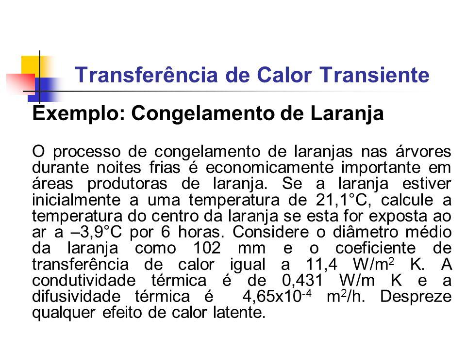 Exemplo: Congelamento de Laranja O processo de congelamento de laranjas nas árvores durante noites frias é economicamente importante em áreas produtor