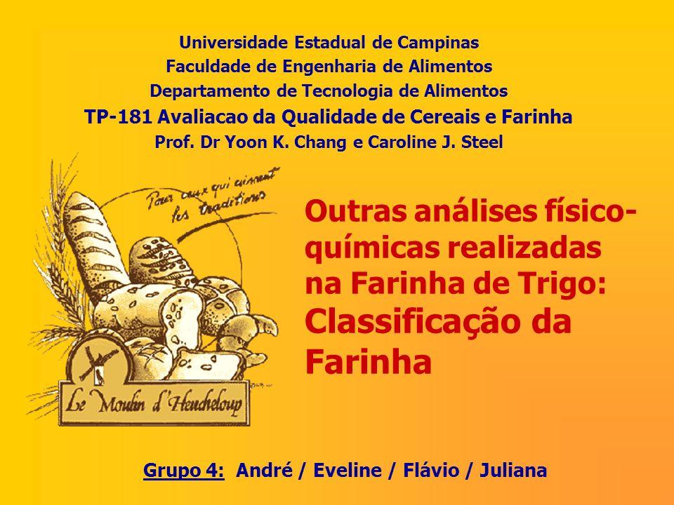 Outras análises físico- químicas realizadas na Farinha de Trigo: Classificação da Farinha Universidade Estadual de Campinas Faculdade de Engenharia de
