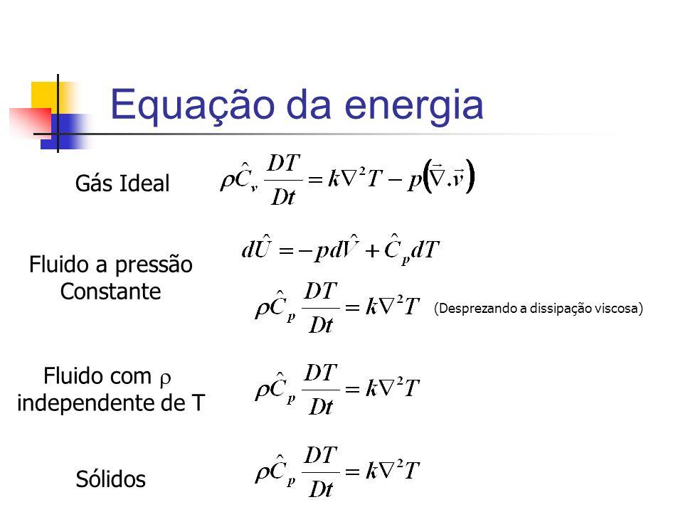 Equação da energia Gás Ideal Fluido a pressão Constante (Desprezando a dissipação viscosa) Fluido com independente de T Sólidos