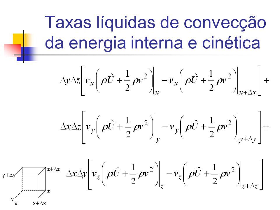 Taxas líquidas de convecção da energia interna e cinética x y z x+ x y+ y z+ z