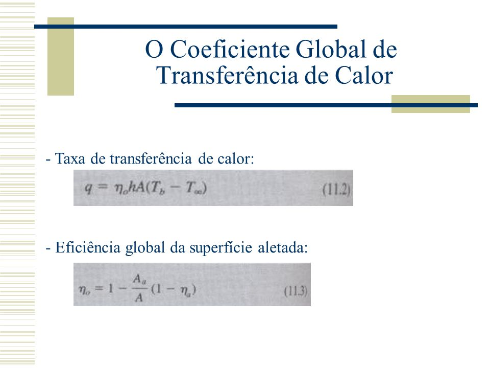 O Coeficiente Global de Transferência de Calor - Taxa de transferência de calor: - Eficiência global da superfície aletada:
