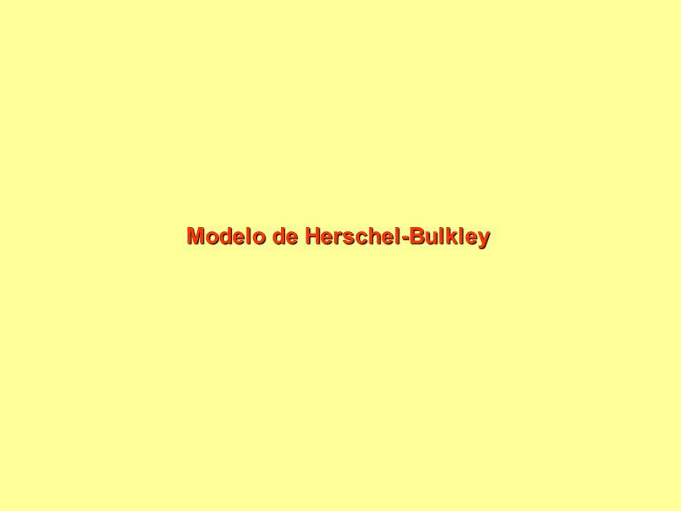 Fluidos não newtonianos de características reológicas independentes do tempo de cisalhamento: com tensão inicial Este fluidos precisam de um tensão mínima para começar a escoar Equação a três parâmetros Equação de Herschel-Bulkley Quando n=1, equação de Binghan