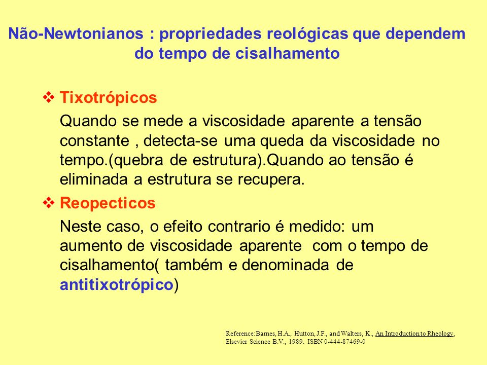 Tempo Viscosidade Tixotrópico Reopéctico Taxa de cisalhamento= Constante Não-Newtonianos : propriedades reológicas que dependem do tempo de cisalhamento