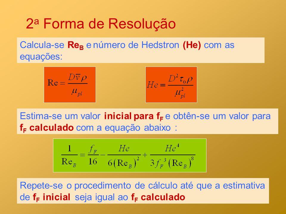 2 a Forma de Resolução Calcula-se Re B e número de Hedstron (He) com as equações: Estima-se um valor inicial para f F e obtên-se um valor para f F cal