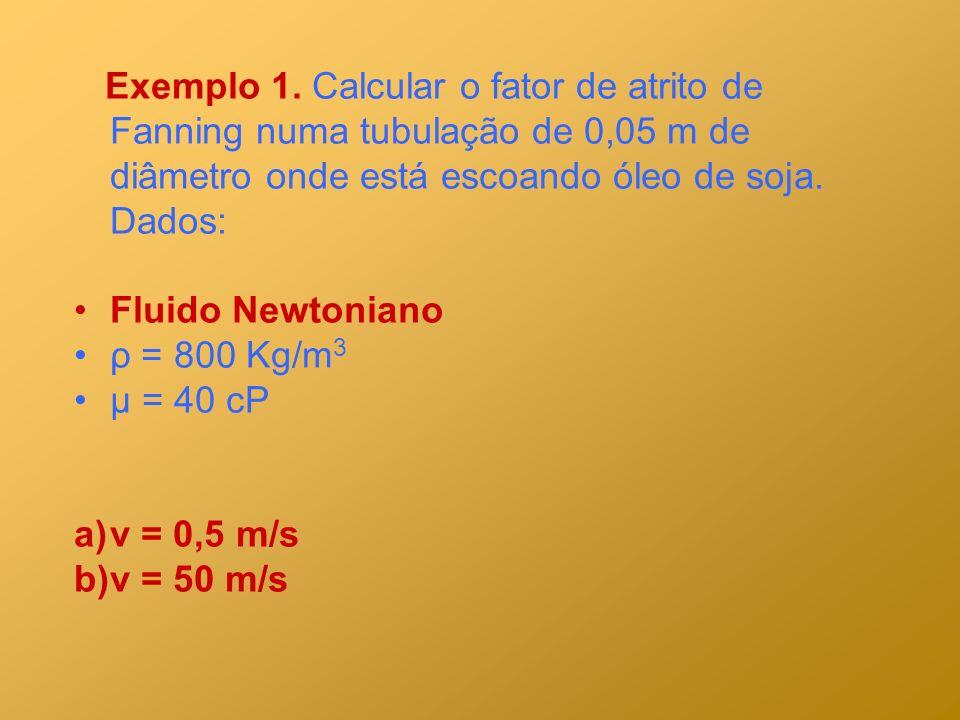 Exemplo 1. Calcular o fator de atrito de Fanning numa tubulação de 0,05 m de diâmetro onde está escoando óleo de soja. Dados: Fluido Newtoniano ρ = 80