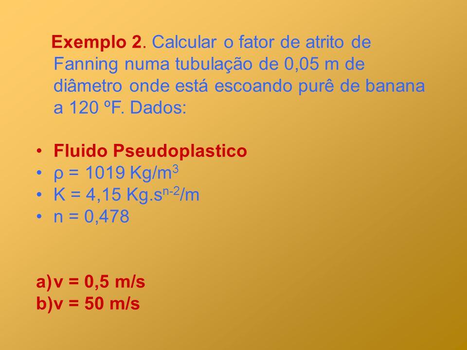 Exemplo 2. Calcular o fator de atrito de Fanning numa tubulação de 0,05 m de diâmetro onde está escoando purê de banana a 120 ºF. Dados: Fluido Pseudo
