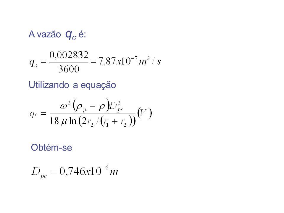 A vazão q c é: Utilizando a equação Obtém-se