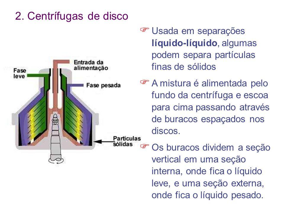 2. Centrífugas de disco Usada em separações líquido-líquido, algumas podem separa partículas finas de sólidos A mistura é alimentada pelo fundo da cen