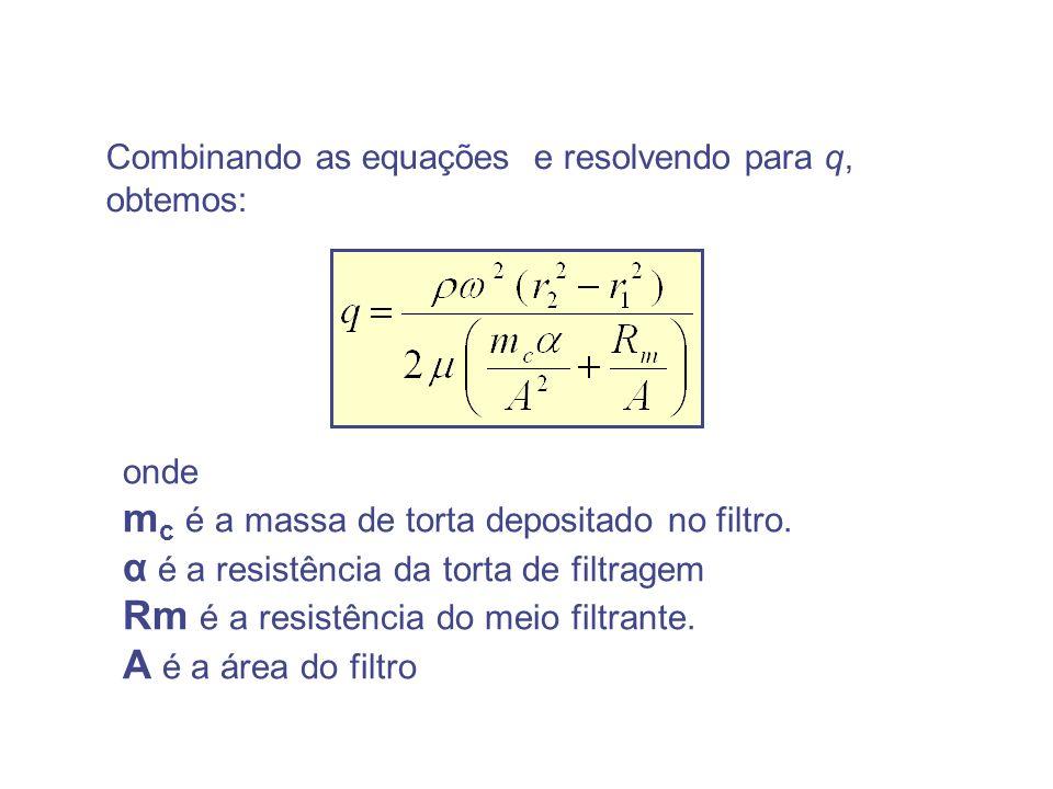 Combinando as equações e resolvendo para q, obtemos: onde m c é a massa de torta depositado no filtro. α é a resistência da torta de filtragem Rm é a