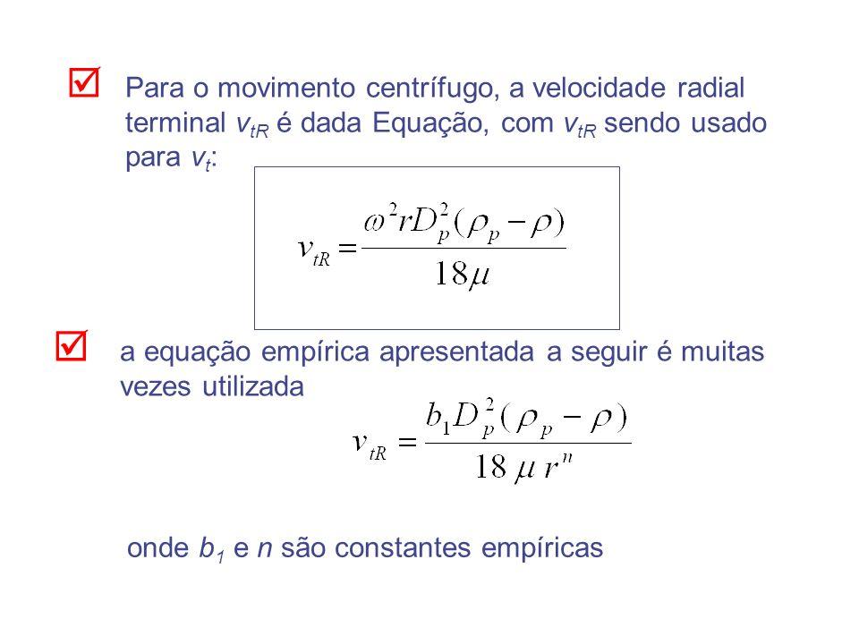 Para o movimento centrífugo, a velocidade radial terminal v tR é dada Equação, com v tR sendo usado para v t : a equação empírica apresentada a seguir