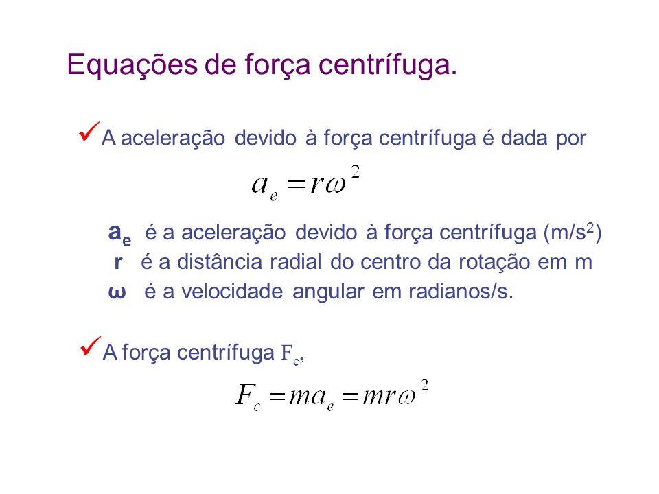 Equações de força centrífuga. a e é a aceleração devido à força centrífuga (m/s 2 ) r é a distância radial do centro da rotação em m ω é a velocidade