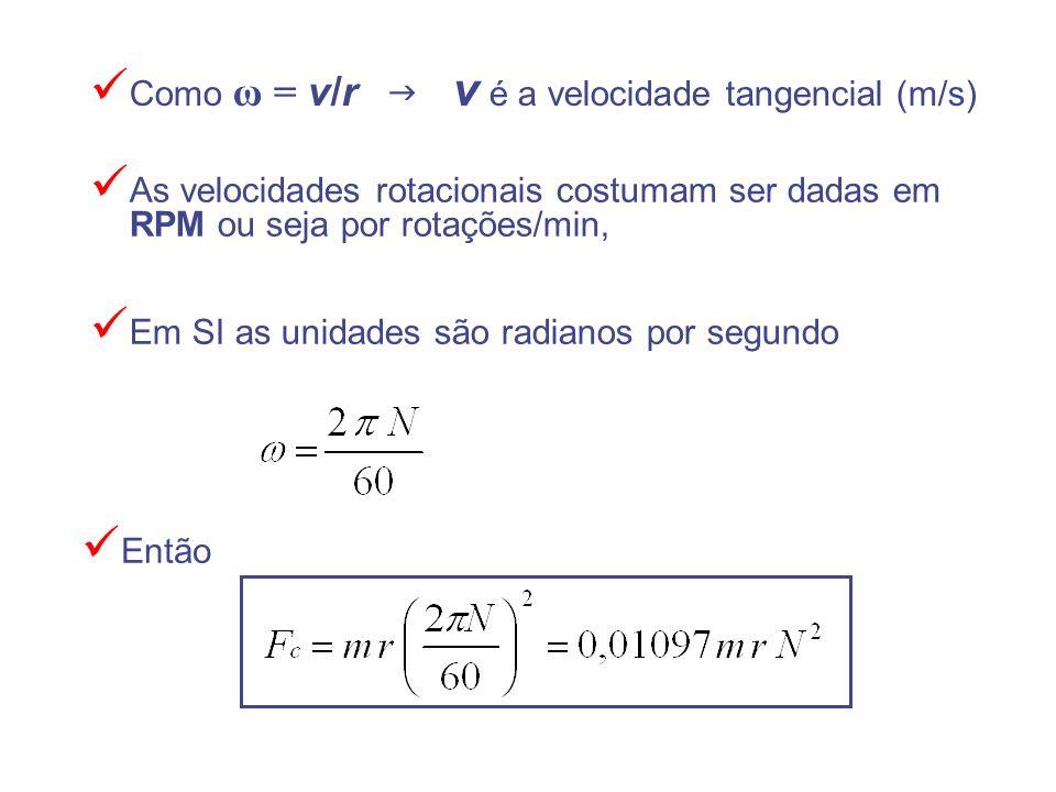 Como ω = v/r v é a velocidade tangencial (m/s) Então Em SI as unidades são radianos por segundo As velocidades rotacionais costumam ser dadas em RPM o