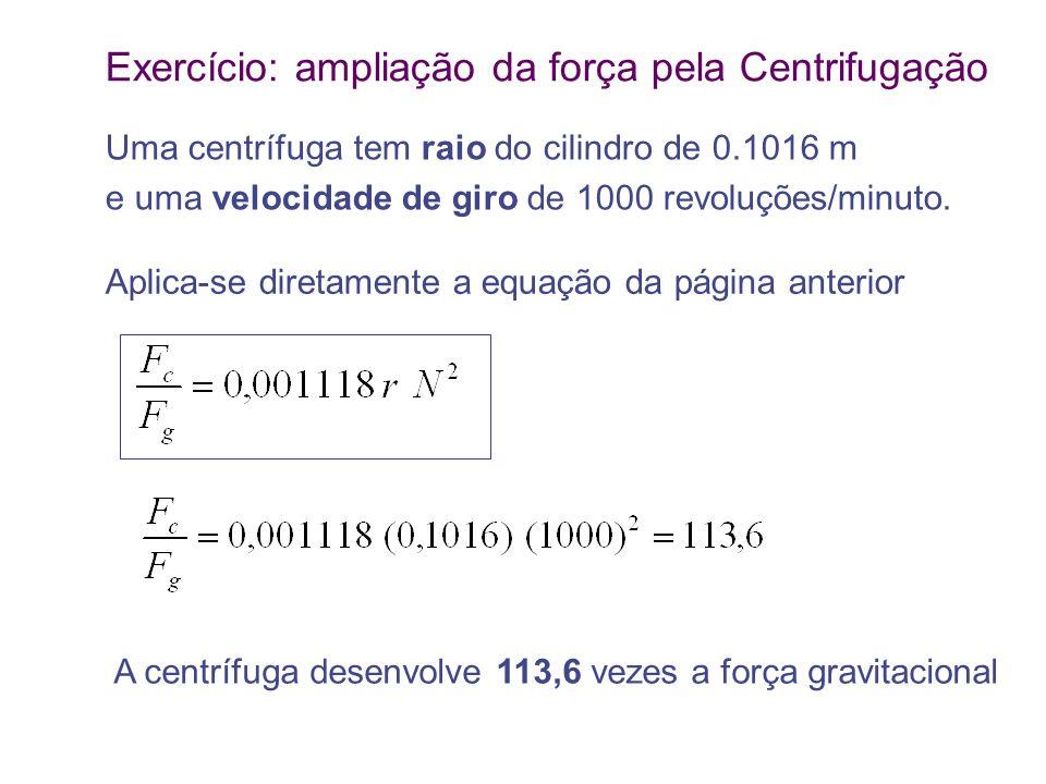 Exercício: ampliação da força pela Centrifugação Uma centrífuga tem raio do cilindro de 0.1016 m e uma velocidade de giro de 1000 revoluções/minuto. A