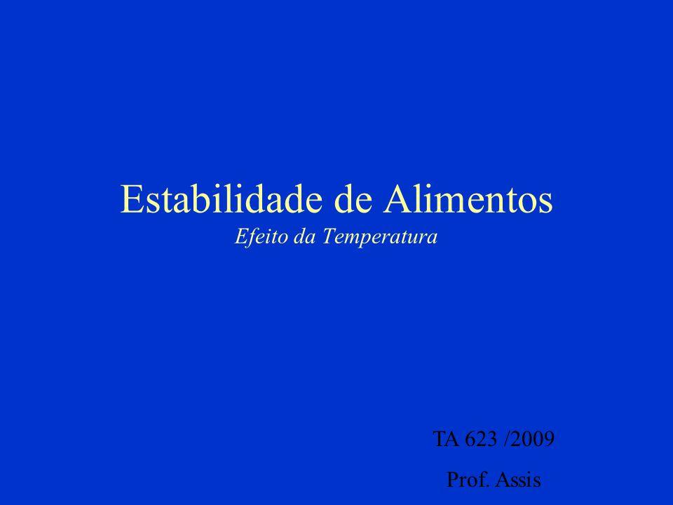 Estabilidade de Alimentos Efeito da Temperatura TA 623 /2009 Prof. Assis
