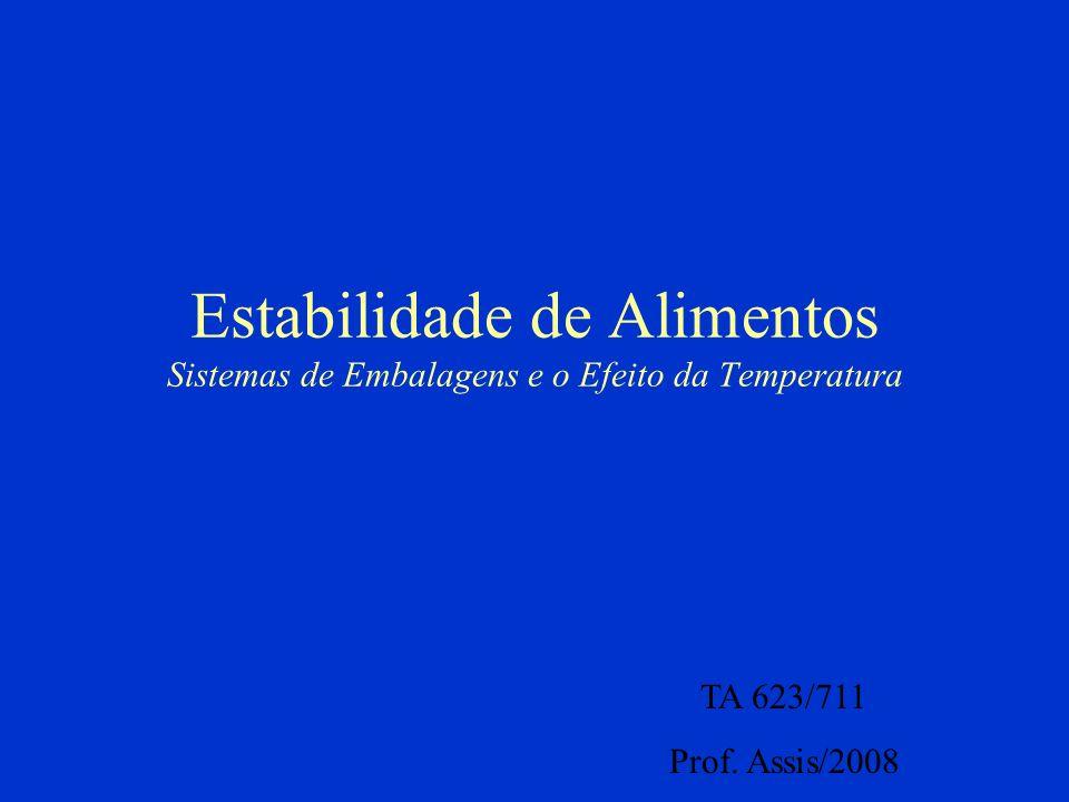 Estabilidade de Alimentos Sistemas de Embalagens e o Efeito da Temperatura TA 623/711 Prof.