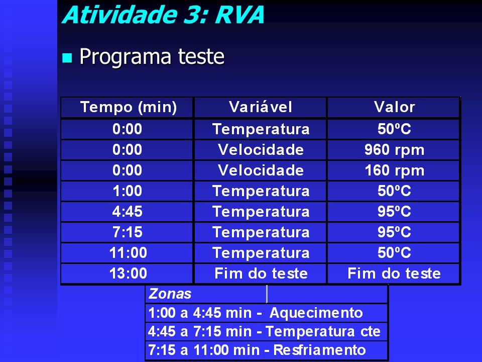 Atividade 3: RVA Programa teste Programa teste