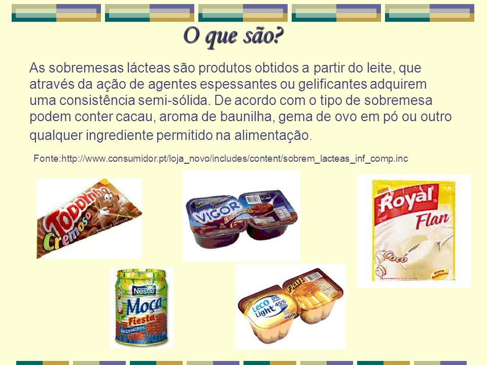 O que são? As sobremesas lácteas são produtos obtidos a partir do leite, que através da ação de agentes espessantes ou gelificantes adquirem uma consi