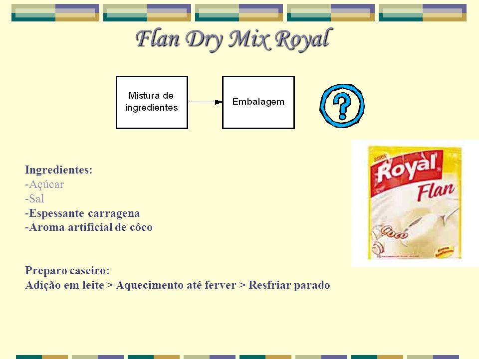 Flan Dry Mix Royal Ingredientes: -Açúcar -Sal -Espessante carragena -Aroma artificial de côco Preparo caseiro: Adição em leite > Aquecimento até ferve