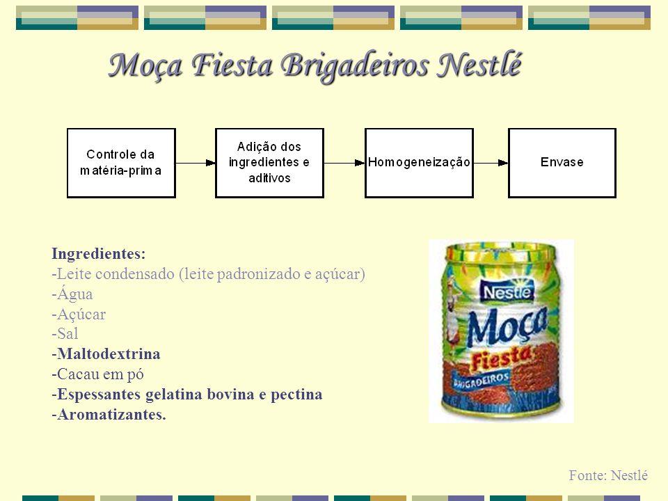 Moça Fiesta Brigadeiros Nestlé Ingredientes: -Leite condensado (leite padronizado e açúcar) -Água -Açúcar -Sal -Maltodextrina -Cacau em pó -Espessante