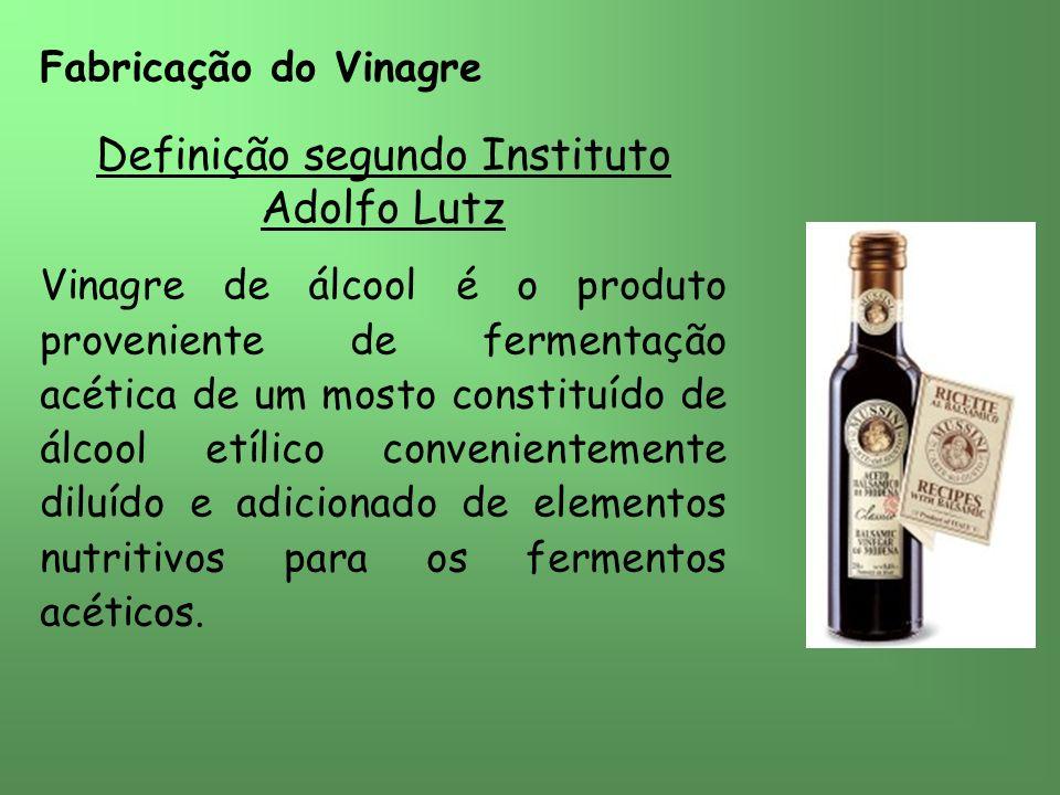 Fabricação do Vinagre Definição segundo Instituto Adolfo Lutz Vinagre de álcool é o produto proveniente de fermentação acética de um mosto constituído de álcool etílico convenientemente diluído e adicionado de elementos nutritivos para os fermentos acéticos.