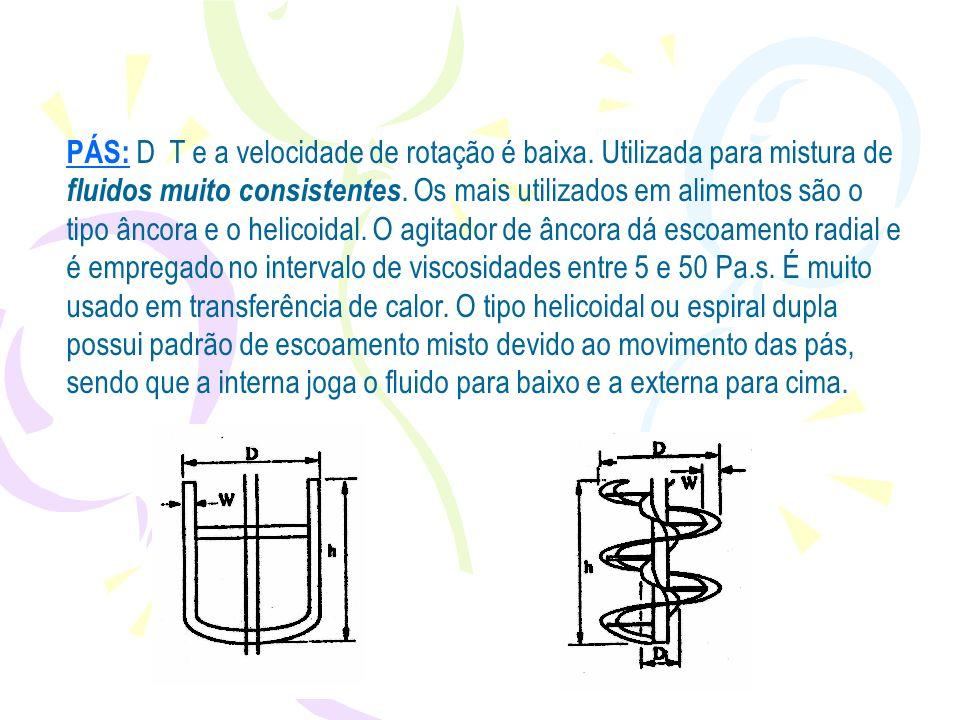 PÁS: D T e a velocidade de rotação é baixa. Utilizada para mistura de fluidos muito consistentes. Os mais utilizados em alimentos são o tipo âncora e
