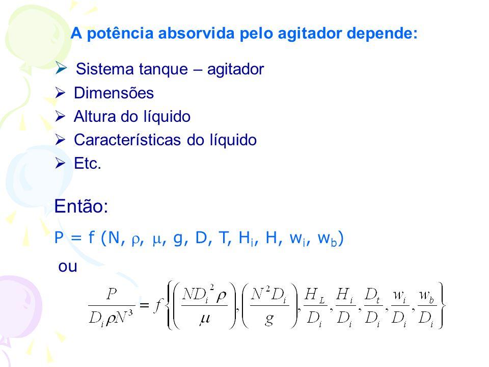 A potência absorvida pelo agitador depende: Sistema tanque – agitador Dimensões Altura do líquido Características do líquido Etc. Então: P = f (N,,, g