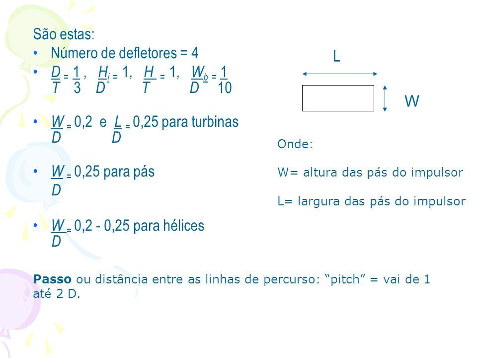 São estas: Número de defletores = 4 D = 1, H i = 1, H = 1, W b = 1 T 3 D T D 10 W = 0,2 e L = 0,25 para turbinas D D W = 0,25 para pás D W = 0,2 - 0,2