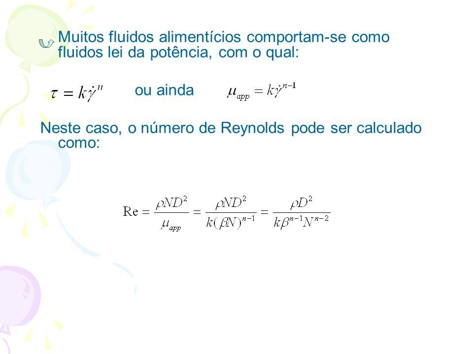 Muitos fluidos alimentícios comportam-se como fluidos lei da potência, com o qual: ou ainda Neste caso, o número de Reynolds pode ser calculado como:
