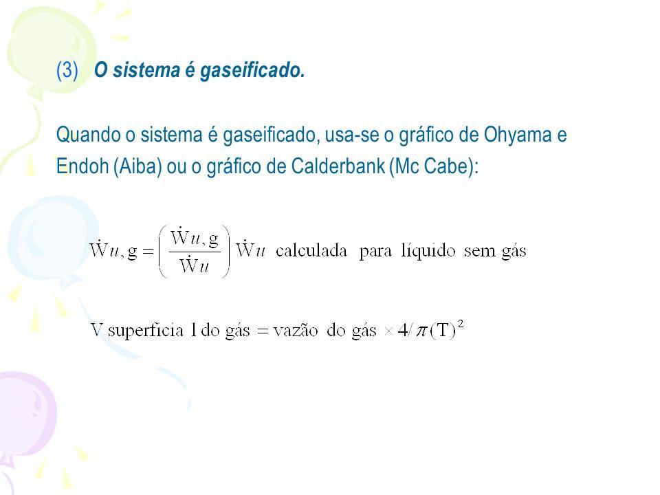 (3) O sistema é gaseificado. Quando o sistema é gaseificado, usa-se o gráfico de Ohyama e Endoh (Aiba) ou o gráfico de Calderbank (Mc Cabe):