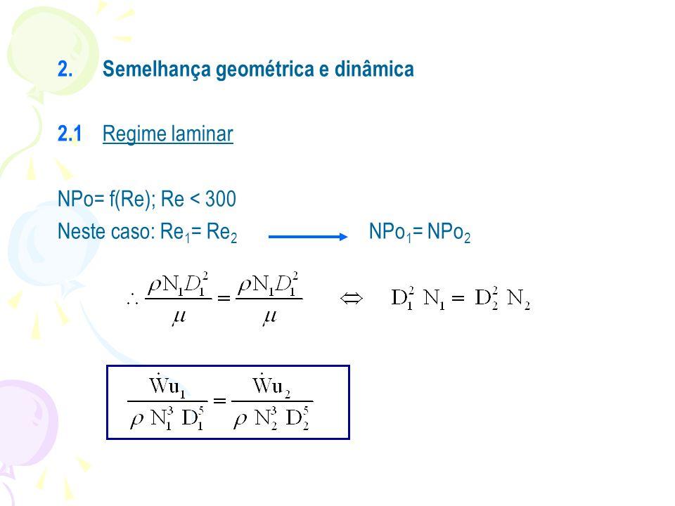 2.Semelhança geométrica e dinâmica 2.1 Regime laminar NPo= f(Re); Re < 300 Neste caso: Re 1 = Re 2 NPo 1 = NPo 2