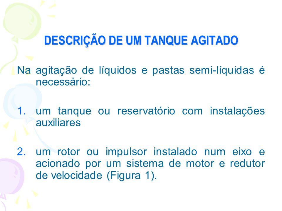 DESCRIÇÃO DE UM TANQUE AGITADO Na agitação de líquidos e pastas semi-líquidas é necessário: 1.um tanque ou reservatório com instalações auxiliares 2.u