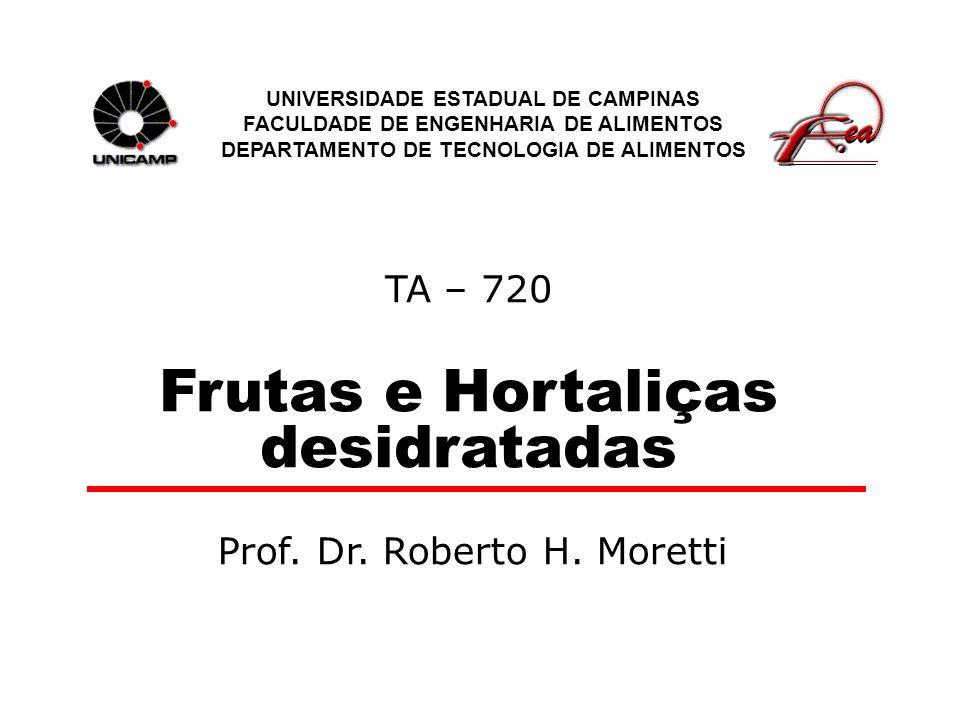 TA – 720 Frutas e Hortaliças desidratadas UNIVERSIDADE ESTADUAL DE CAMPINAS FACULDADE DE ENGENHARIA DE ALIMENTOS DEPARTAMENTO DE TECNOLOGIA DE ALIMENT