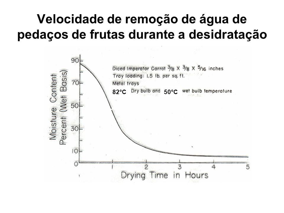 Velocidade de remoção de água de pedaços de frutas durante a desidratação 82°C50°C