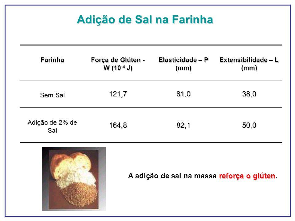 Adição de Sal na Farinha Farinha Força de Glúten - W (10 -4 J) Elasticidade – P (mm) Extensibilidade – L (mm) Sem Sal 121,781,038,0 Adição de 2% de Sa