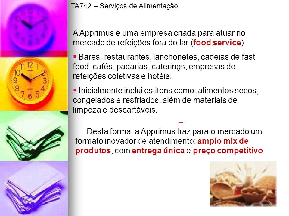 A Apprimus é uma empresa criada para atuar no mercado de refeições fora do lar (food service) Bares, restaurantes, lanchonetes, cadeias de fast food,