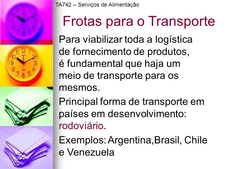 Frotas para o Transporte Para viabilizar toda a logística de fornecimento de produtos, é fundamental que haja um meio de transporte para os mesmos. Pr