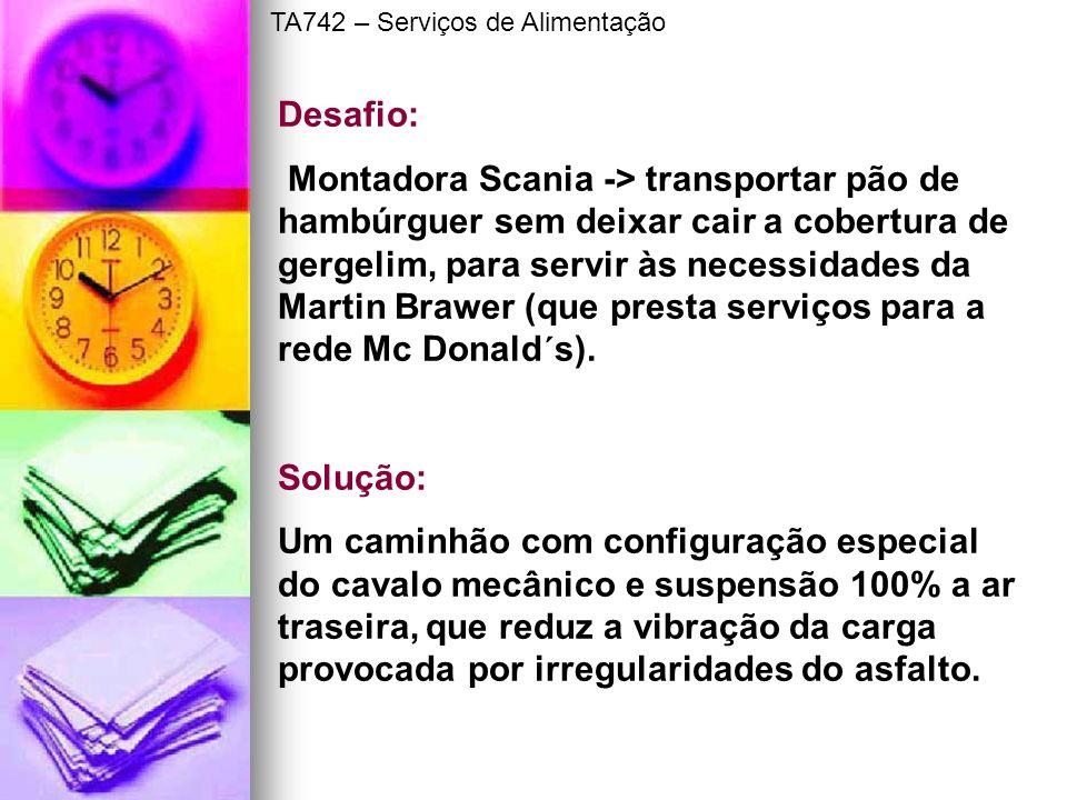 Desafio: Montadora Scania -> transportar pão de hambúrguer sem deixar cair a cobertura de gergelim, para servir às necessidades da Martin Brawer (que