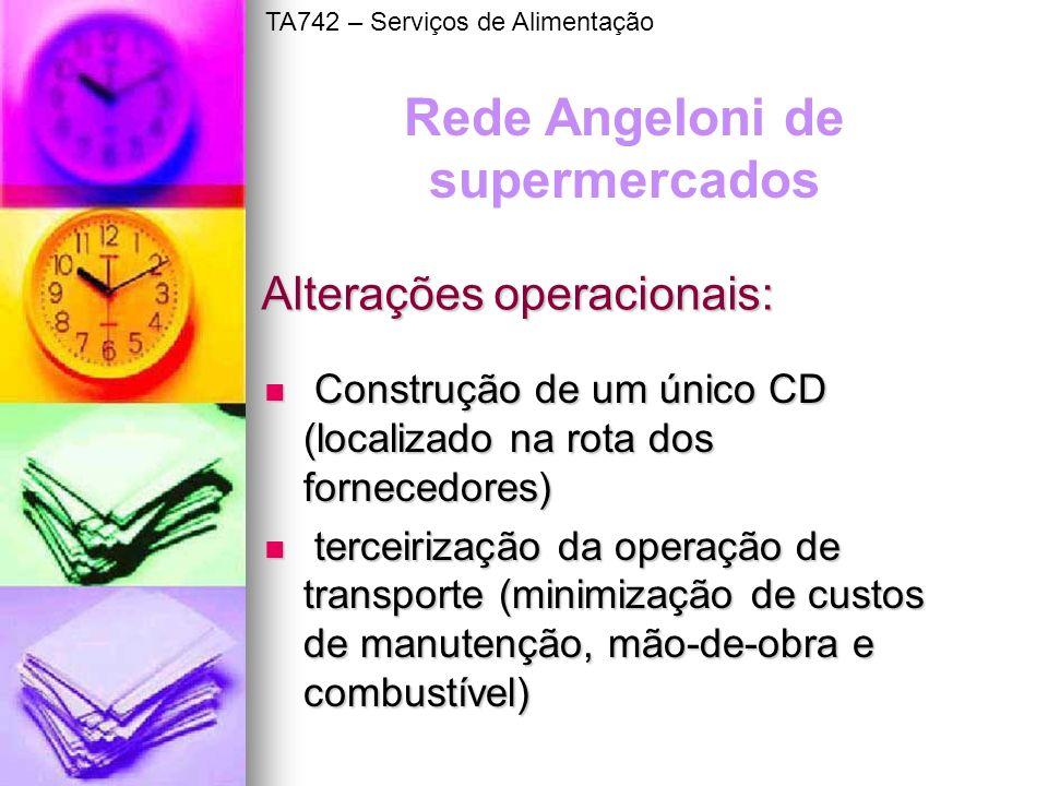 Alterações operacionais: Construção de um único CD (localizado na rota dos fornecedores) Construção de um único CD (localizado na rota dos fornecedore
