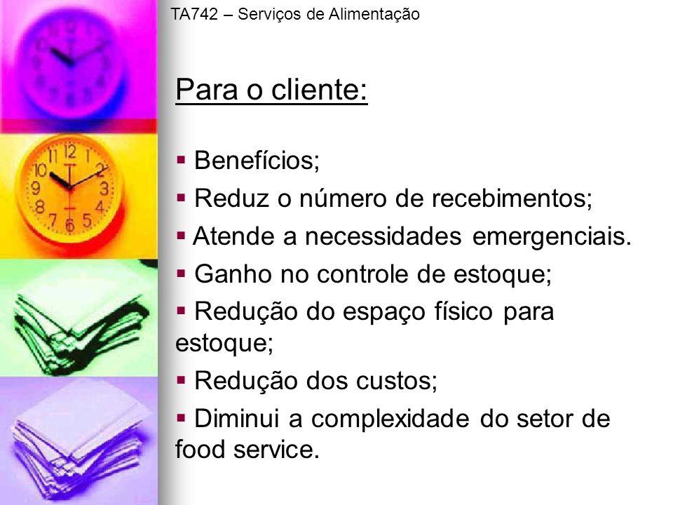 Benefícios; Reduz o número de recebimentos; Atende a necessidades emergenciais. Ganho no controle de estoque; Redução do espaço físico para estoque; R