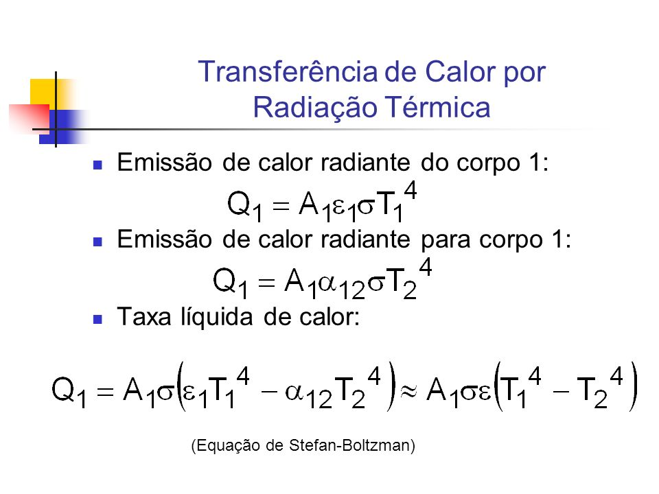 Transferência de Calor por Radiação Térmica Emissão de calor radiante do corpo 1: Emissão de calor radiante para corpo 1: Taxa líquida de calor: (Equa
