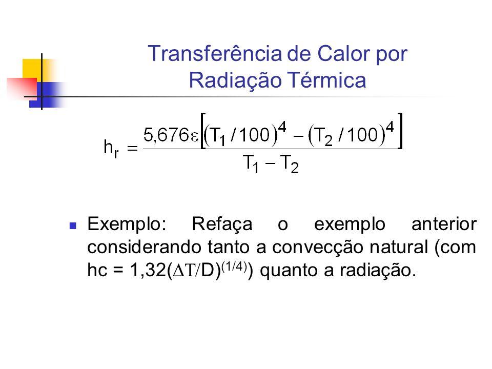 Transferência de Calor por Radiação Térmica Exemplo: Refaça o exemplo anterior considerando tanto a convecção natural (com hc = 1,32( D) (1/4) ) quant