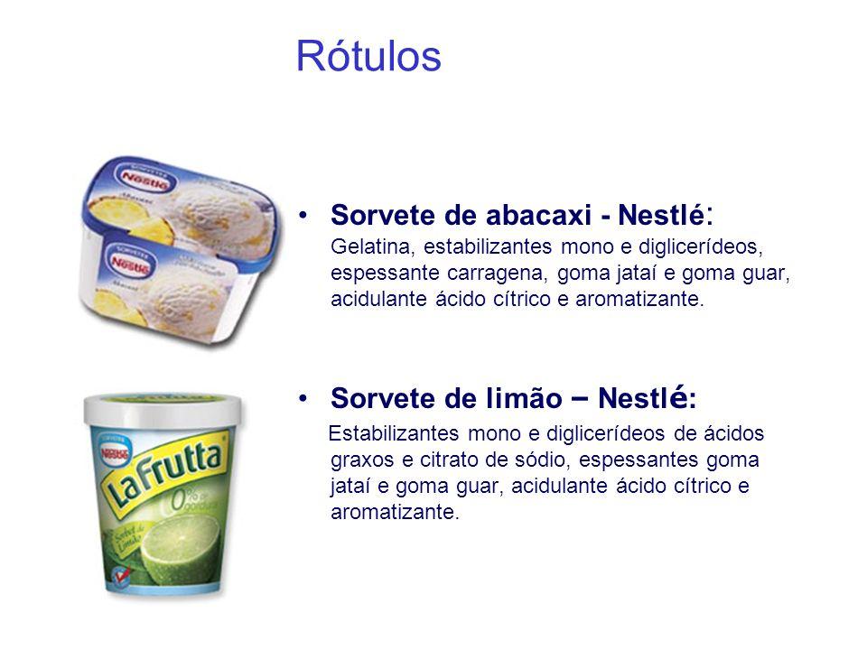 Rótulos Sorvete de abacaxi - Nestlé : Gelatina, estabilizantes mono e diglicerídeos, espessante carragena, goma jataí e goma guar, acidulante ácido cí